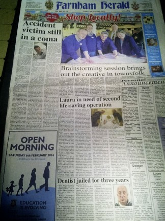 Front Page of Farnham Herald